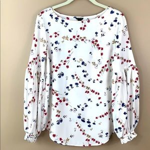 Ann Taylor white floral long sleeve blouse sm